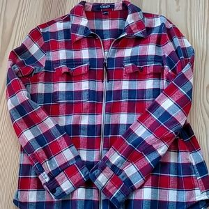 Chaps Full Zipper Flannel Shirt
